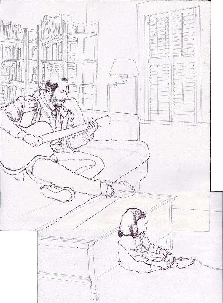 Detailed Pencil Drawing of Man Playing Guitar