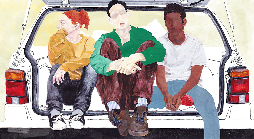 Painting Illustration of People in Car