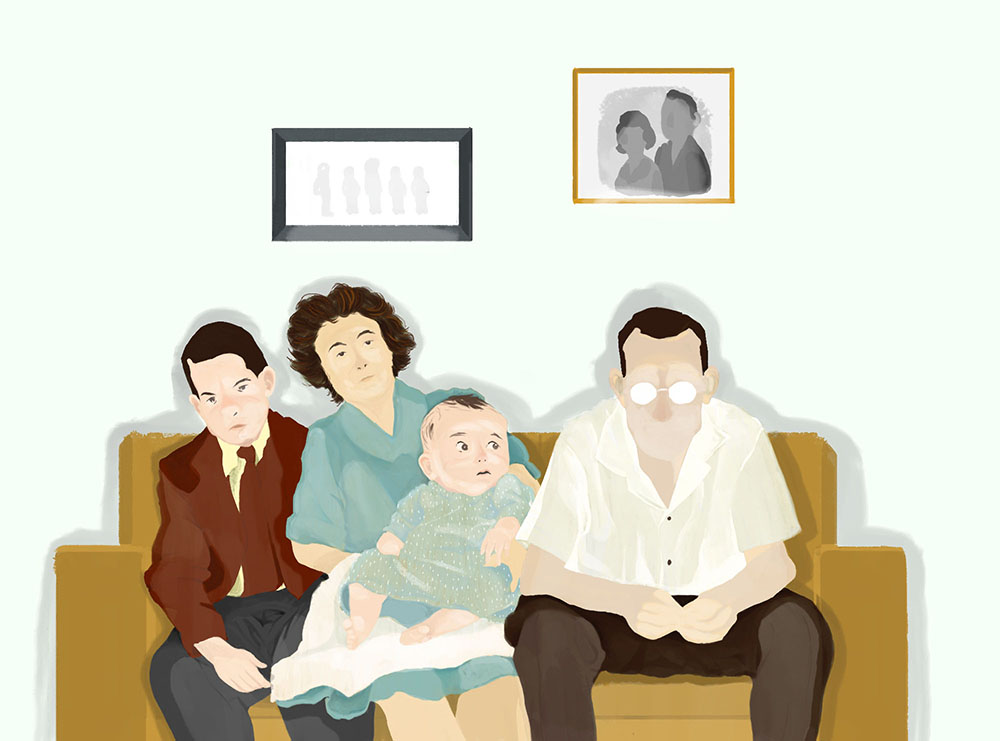 Illustration of a 1950s family