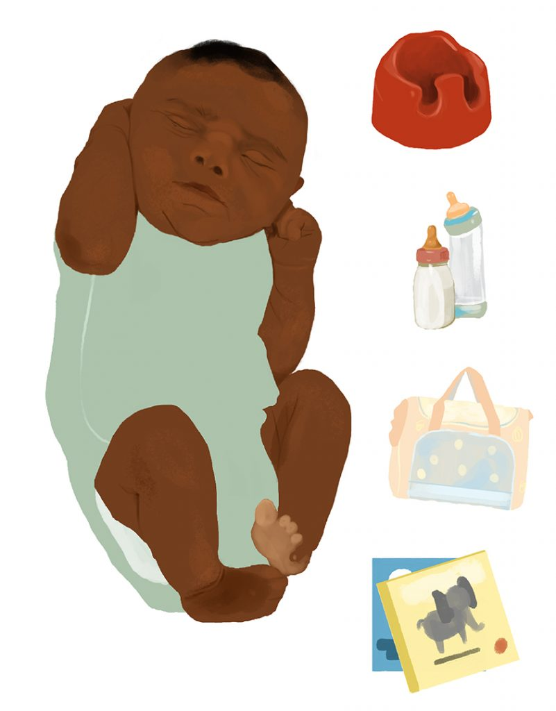 Digital Illustration of Baby and Baby Supplies